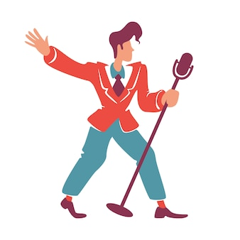 Blues jazz singer posing with microphone flat color faceless character. old fashioned guy in red blazer with 40s hairstyle. retro club performer, solo musician isolated cartoon illustration