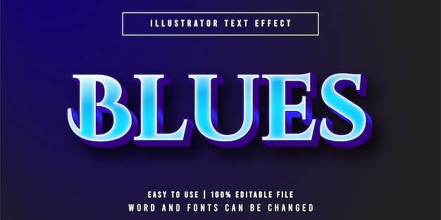 블루스, 고급스러운 우아한 텍스트 효과 그래픽 스타일