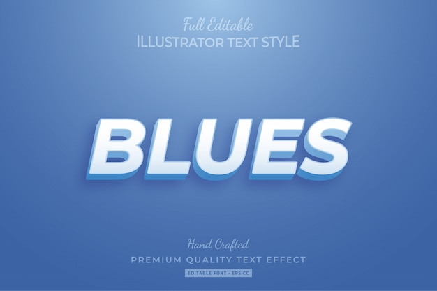 Blues modern editable 3d text style effect