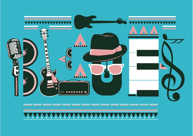 Blues music typography poster