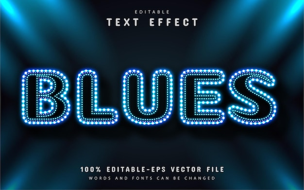 Blues text effect neon style