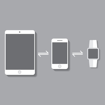 Bluetooth smartwatch and tablet smartphone in flat design