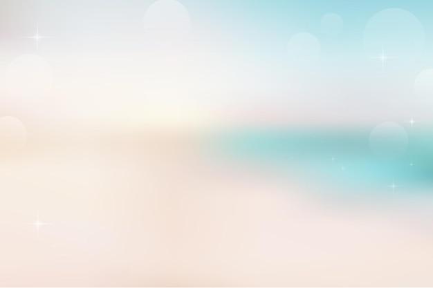 Размытие пляжа и песка абстрактного фона с светом солнца боке на лето.