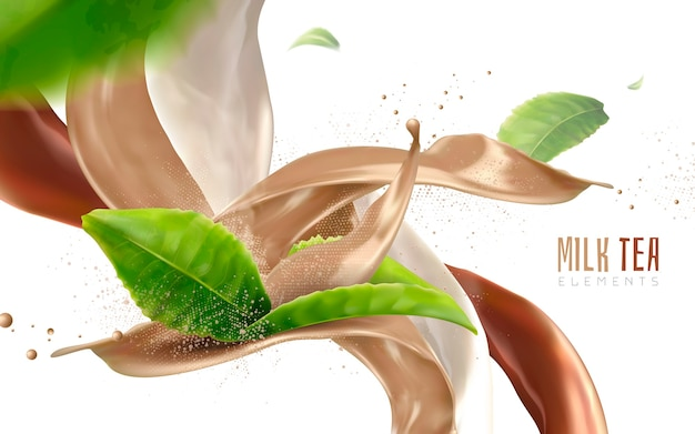 Blur flying green leaves and beverage flows realistic 3d illustration