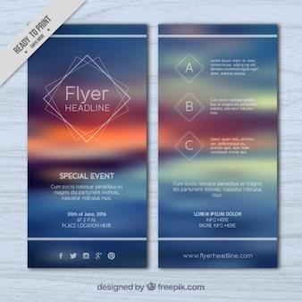 Blur landscape flyer Free Vector