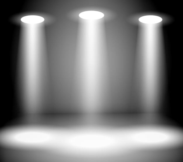 Размытие прожекторов в темной комнате