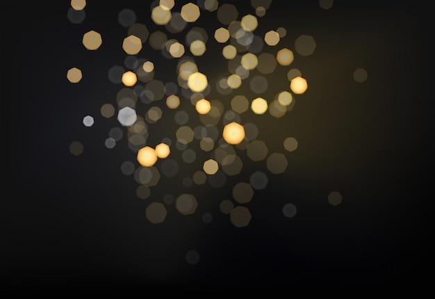 暗い背景に多くの明るいbluredライト。写真効果のベクトル図