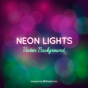 Offuscata sfondo bokeh di luci al neon