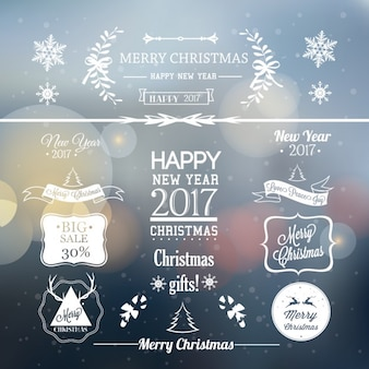 Blurred background christmas labels Free Vector