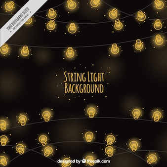 Blurred background of hand drawn string lights