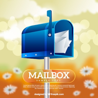 Blurred background with blue mailbox flowers
