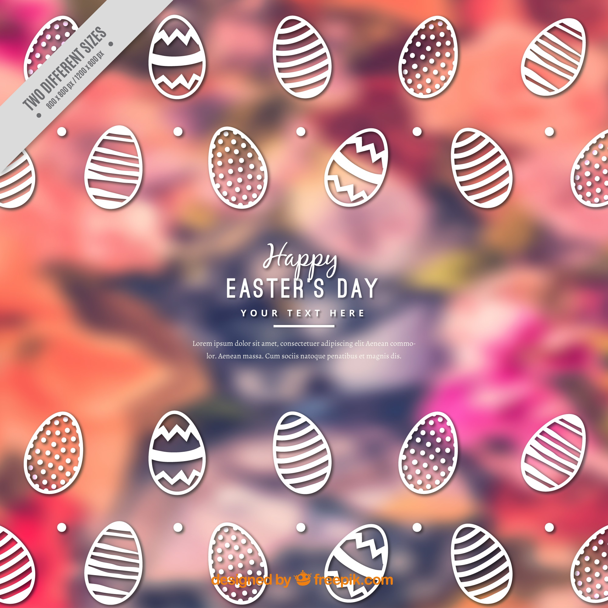 Blurred background with decorative easter eggs
