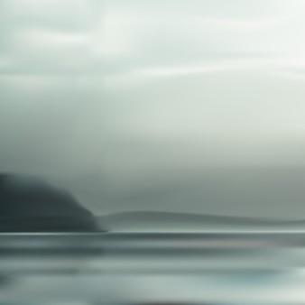 Sfondo sfocato di mare nebbiosa