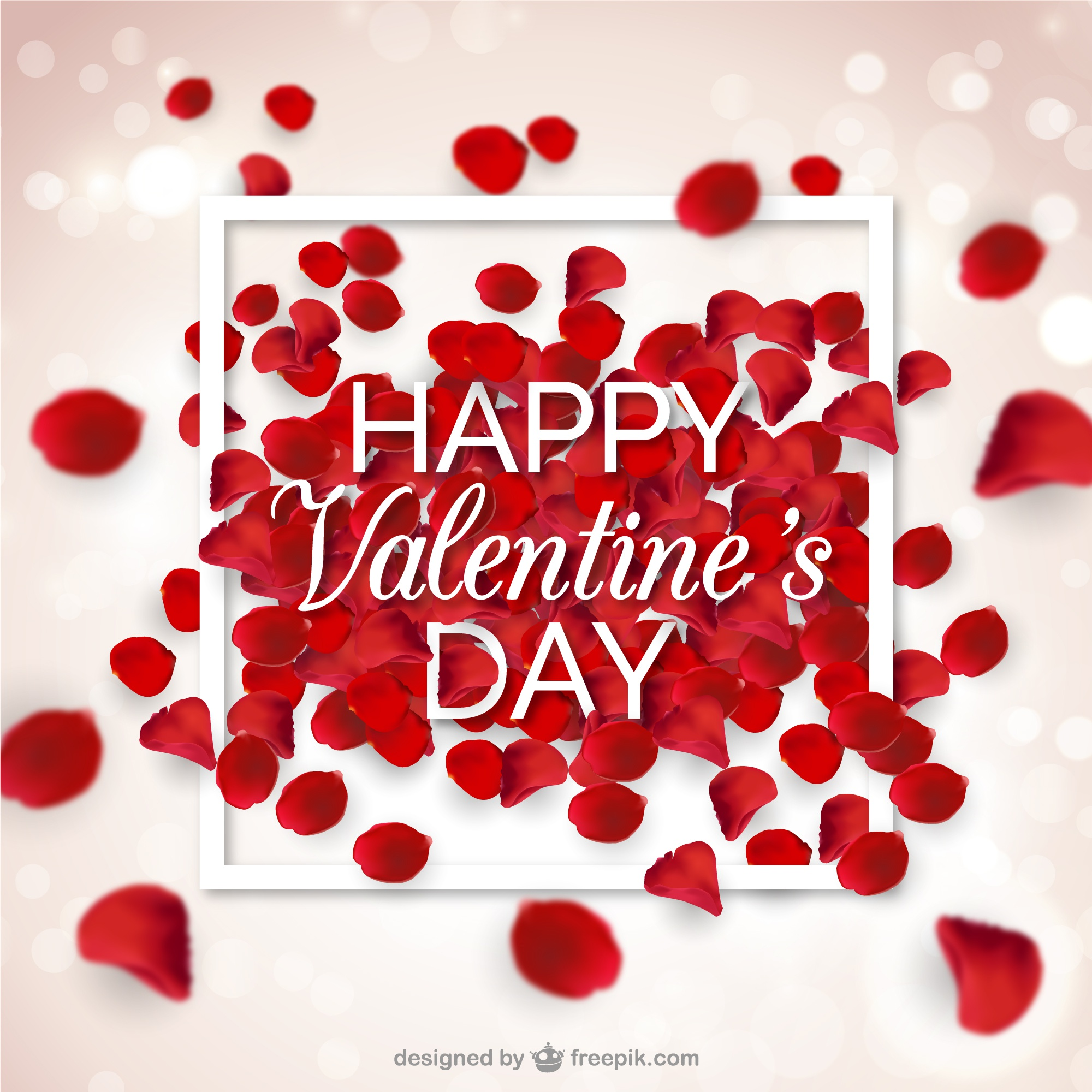 Blurred background with red petals for valentine's day