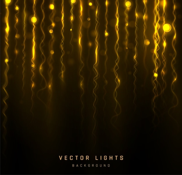Blurred bokeh light on black background. abstract glitter defocused blinking stars and sparks.