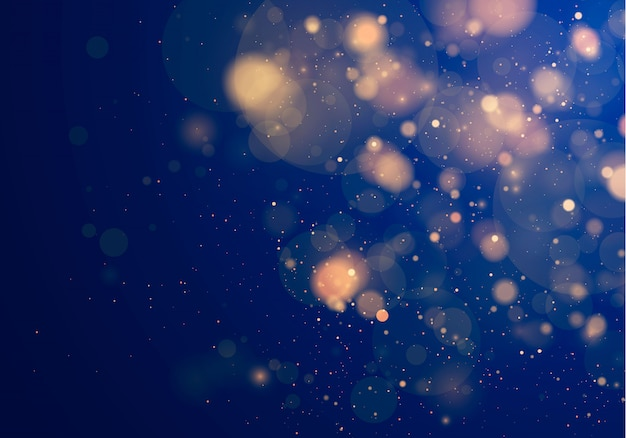 Blurred bokeh light on dark blue background.  and new year holidays template. abstract glitter defocused blinking stars and sparks.