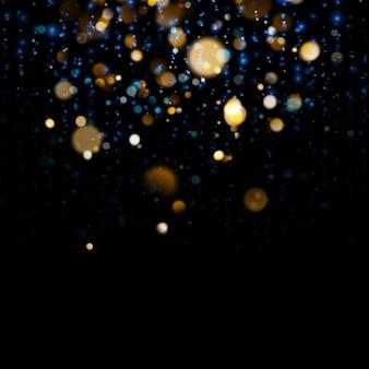 진한 파란색 배경에 흐리게 bokeh 빛입니다. 추상 반짝이 defocused 깜박이는 별과 불꽃.