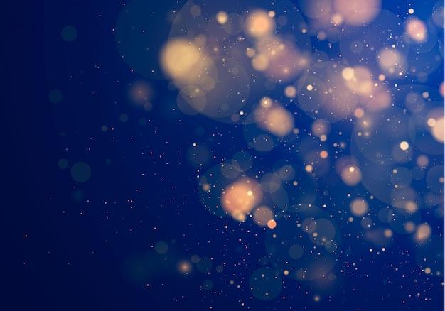 Размытый свет боке на синем фоне. и новогодние праздники шаблон. абстрактный блеск расфокусированным мигающими звездами и искрами.