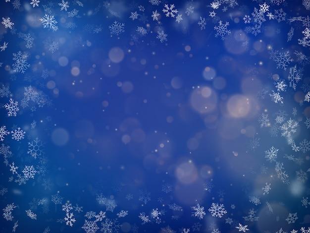 진한 파란색 배경에 흐리게 bokeh 빛입니다. 크리스마스와 연말 연시. 추상 반짝이 defocused 깜박이는 별과 불꽃.