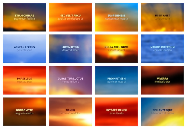 Blurred bright sky and sea bokeh landscape vector backgrounds collection