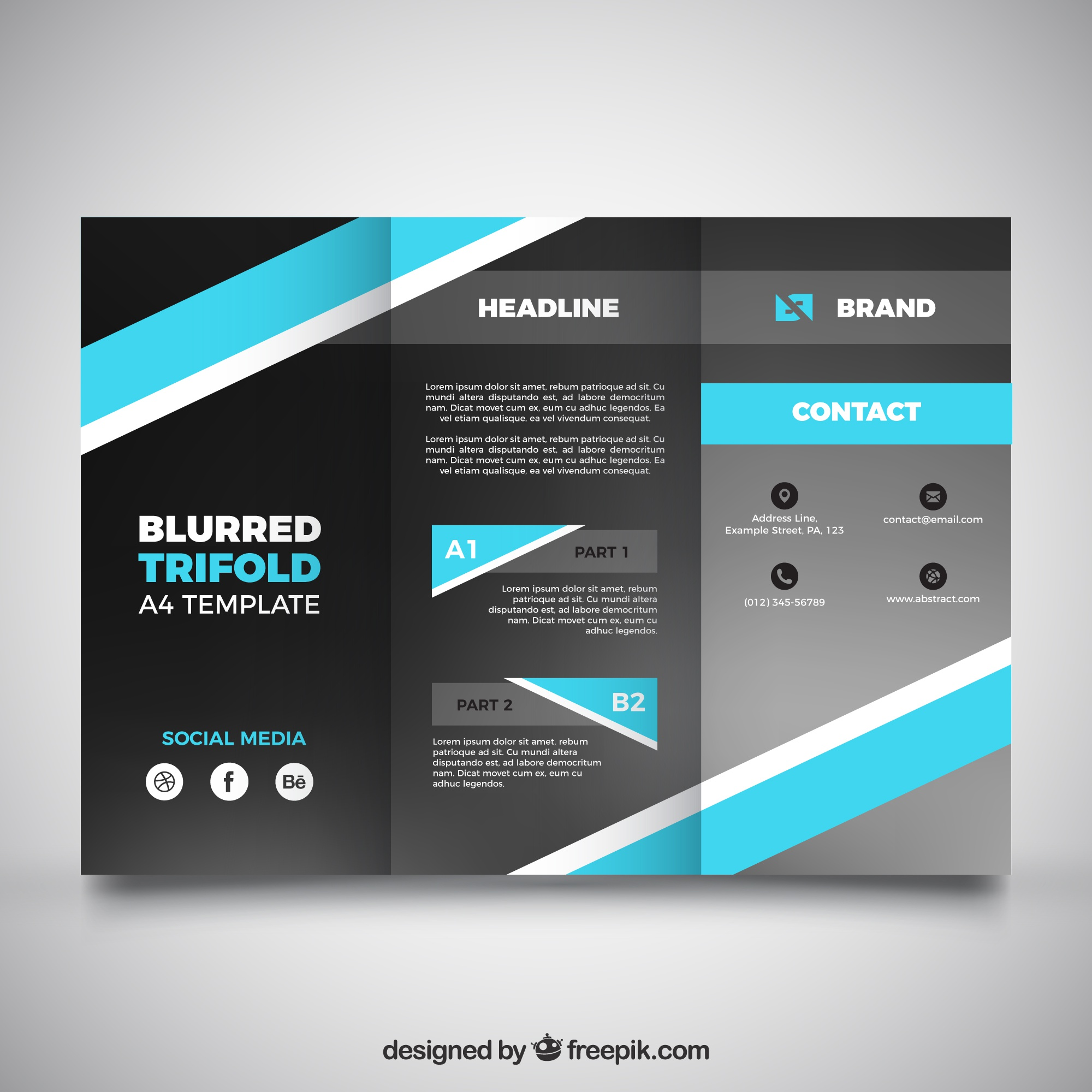 Blurred business trifold with blue shapes