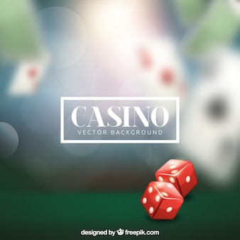 Blurred casino background with two dice