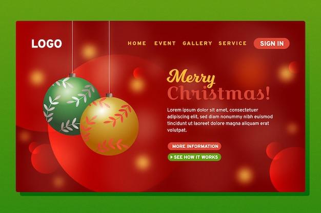 Blurred christmas balls landing page template