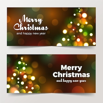 Blurred christmas banners concept
