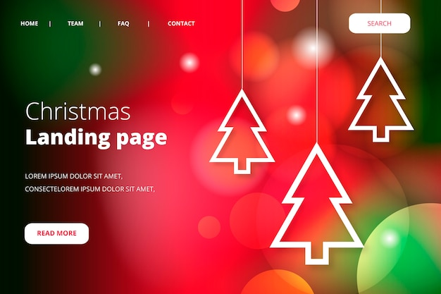 Blurred christmas landing page template