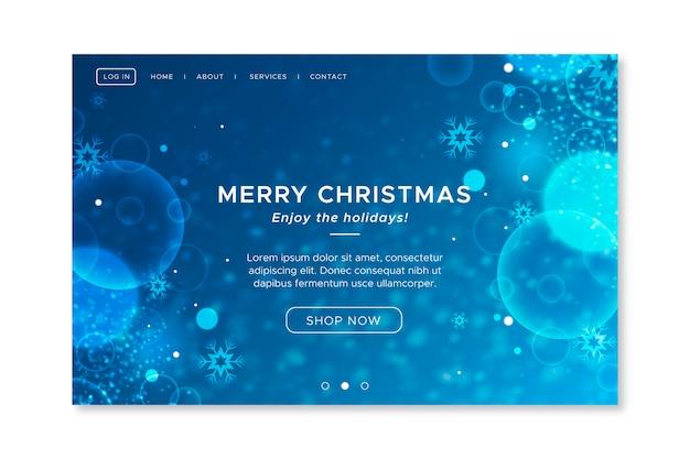 Затуманенное рождественский шаблон целевой страницы