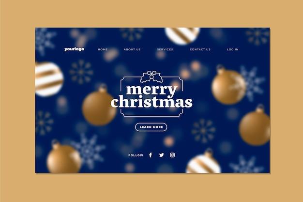 Размытый рождественский шаблон целевой страницы