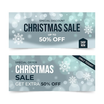 Blurred christmas sale banner template