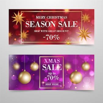 Размытые рождественские продажи баннер шаблон