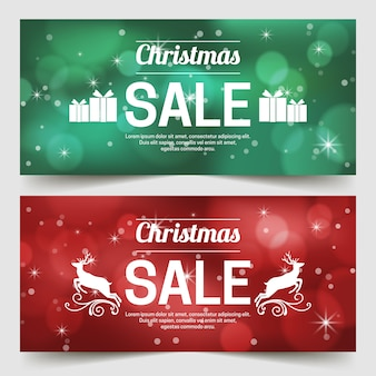 Blurred christmas sale banners set