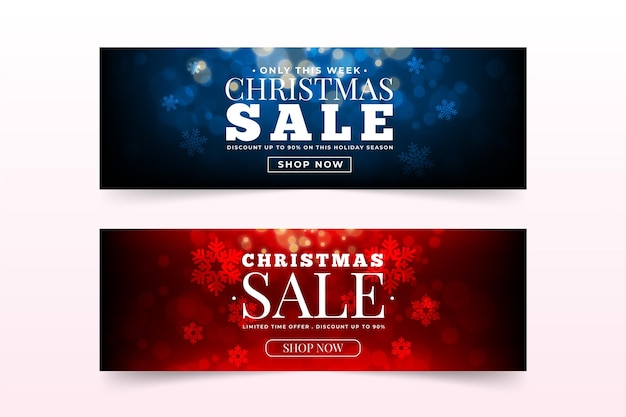 Blurred christmas sale banners template