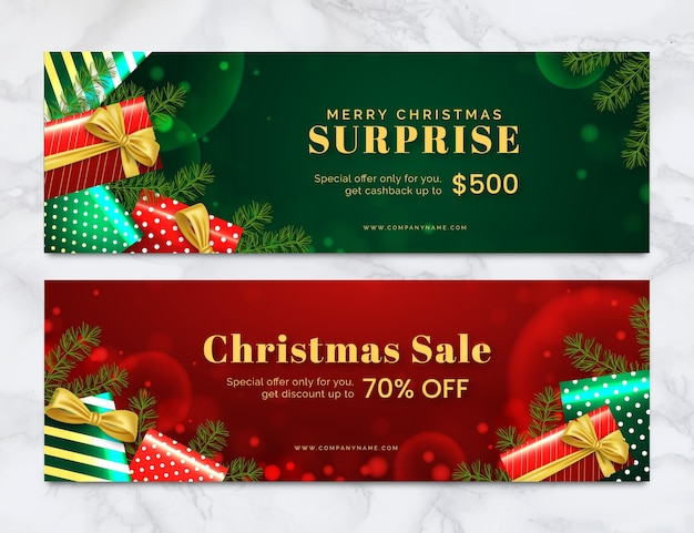 Blurred christmas sale banners