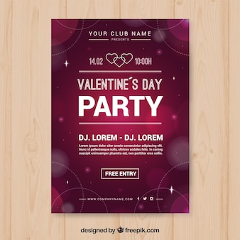 Blurred circles valentine party poster template
