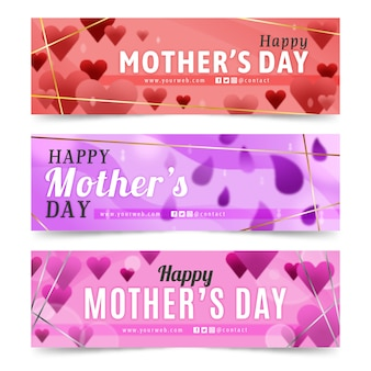 Blurred collection of mother's day banners