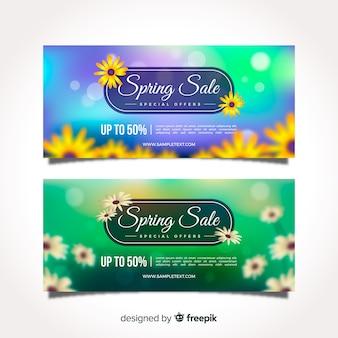 Blurred flowers spring sale banner