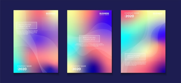 Blurred gradient abstract book cover flyer designs set