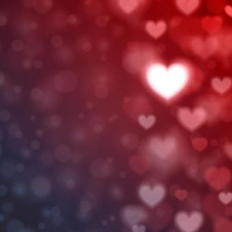 Blurred gradient hearts background