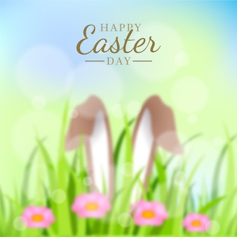 Blurred happy easter day concept
