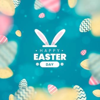 Blurred happy easter day egg background