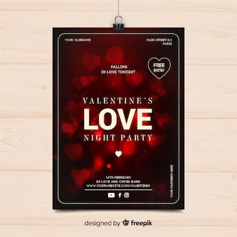 Blurred hearts valentine party poster