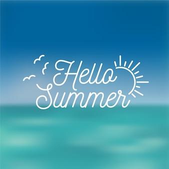 こんにちは夏の抽象的な太陽とカモメをぼやけ
