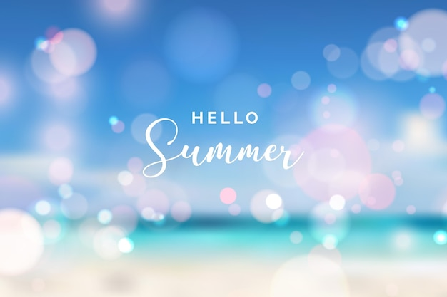 Blurred hello summer background with bokeh effect
