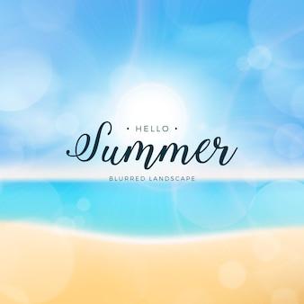 Затуманенное привет лето с пляжем