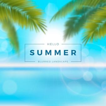 Затуманенное привет лето с пальмами