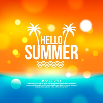 Blurred illustration with hello summer lettering