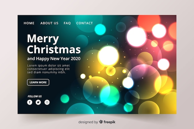 Blurred lights christmas landing page